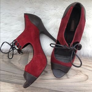 Arezzo red suede high heels Mary Jane